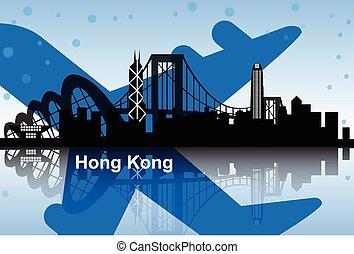 Hong Kong skyline with airplane
