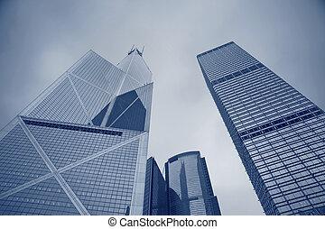 hong kong, skyscrapers.