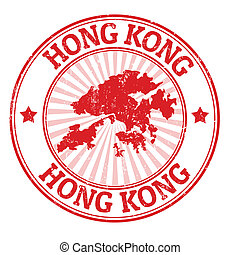 Hong Kong stamp - Grunge rubber stamp with the name and map...