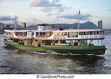 Hong Kong Star Ferry arriving at Wan Chai ferry Pier
