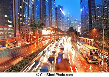 Hong Kong street view - Hong Kong street with busy traffic...