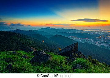hong kong sunrise on mountain