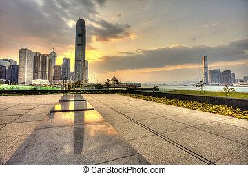 Hong Kong sunset in downtown