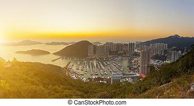 Hong Kong sunset in rural area
