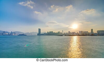 Hong Kong Sunset, View from kowloon bay downtown timelapse...