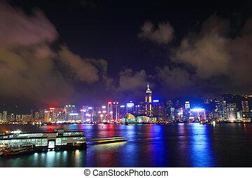 hong kong, temps, port, nuit