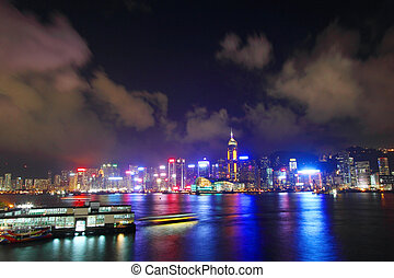 hong kong, temps, port, nuit