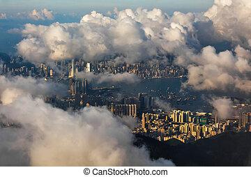 Hong Kong through clouds