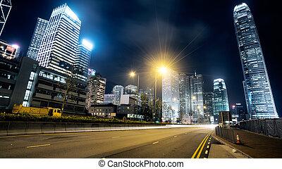 hong kong - traffic in Hong Kong at night
