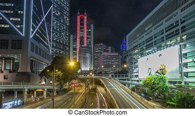 Hong Kong traffic timelapse hyperlapse near bank tower in Central District of Hong Kong.