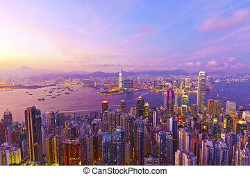 hong kong, tramonto