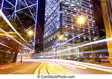 hong kong, város, noha, forgalom, nyom