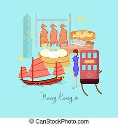 hong kong, viaje, elemento