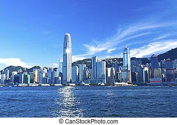 Hong Kong view along Victoria Harbor
