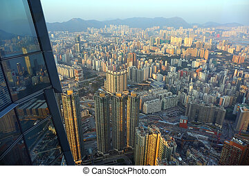 Hong Kong view from hundredth floor of a skyscraper
