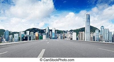 Hong Kong view of Victoria Harbor, Hong Kong Island business dis