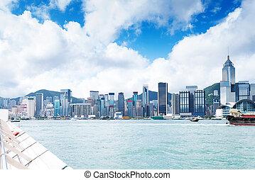 Hong Kong view of Victoria Harbor, Hong Kong Island business district.