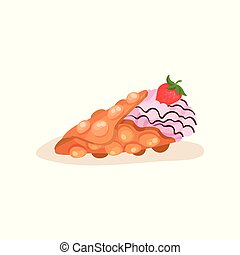 Hong Kong waffle with ice-cream and ripe strawberry. Street fast food. Flat vector element for poster or menu