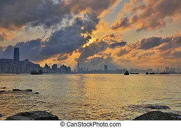 Hong Kong water bay at sunset