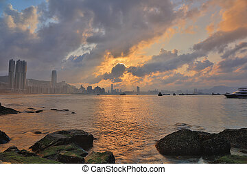 Hong Kong water bay at sunset