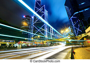 Hong Kong with traffic trail