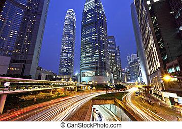 hong kong, zona comercial, por la noche