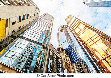 Hong Kong's skyscrapers - Modern skyscrapers in Central,...