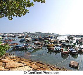 hong, kust, cheung, visserij, chau, bootjes, langs, kong