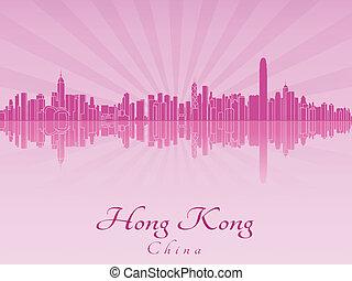 hong, lila, leuchtend, kong, skyline, orchidee