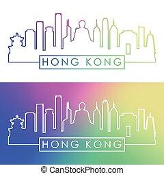 hong, linearny, barwny, kong, skyline., style.