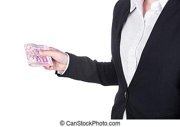hong, mujer, dinero, dólar, aislado, kong, traje, blanco