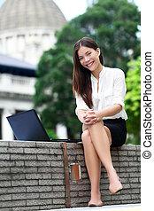hong, mulher, laptop, negócio, kong
