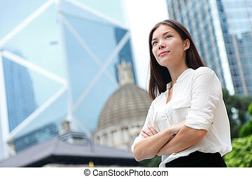 hong, negócio mulher, kong, confiante, retrato