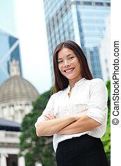hong, negócio mulher, kong, retrato, sorrindo