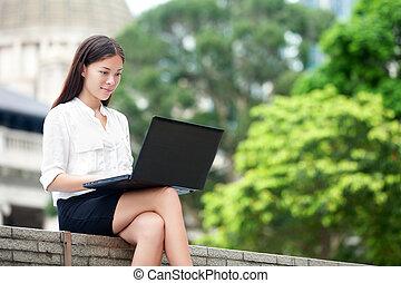 hong, negócio mulher, laptop, kong, computador
