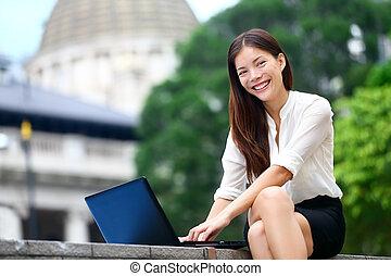 hong, negócio mulher, pessoas, laptop, -, kong