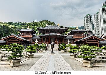 hong, nonnenklooster, chi, lin, kong, binnenplaats, kowloon