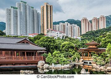 hong, nonnenklooster, chi, lin, kong, fontijn, kowloon