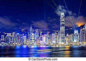 Hong, noturna, edifícios, escritório,  kong