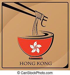hong, nouille, kong, drapeau, fait, logo