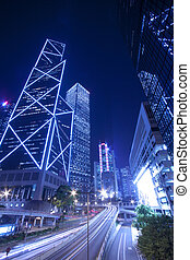 hong, ocupado, área, kong, céntrico, tráfico