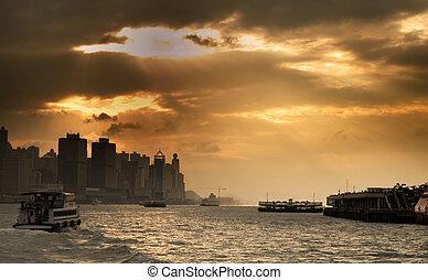 hong, port, kong, coucher soleil, cityscape, victoria