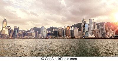 hong, port, panorama, kong, horizon, coucher soleil, victoria