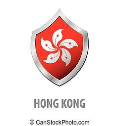 hong, protector, metal, kong, bandera, vector, brillante,...