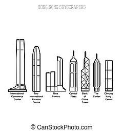 hong, rascacielos, kong