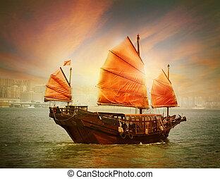 hong, rifiuto, barca, kong