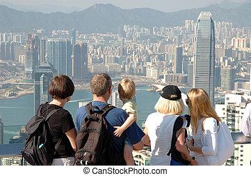 hong, sightseeing, famly, skyline, kong