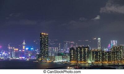 hong, sommet, timelapse, kong, en ville, kowloon, baie, nuit, vue