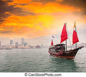 hong, stretto, kong, famoso, kowloon., incrocio, nave, vele,...