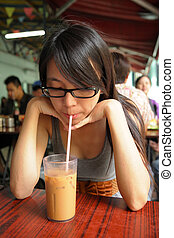 hong, té, dai, leche, dong, kong-style, pai, bebida, niña